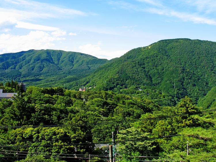 左・明神ヶ岳、右・明星ヶ岳(上の方に大の字が見える)