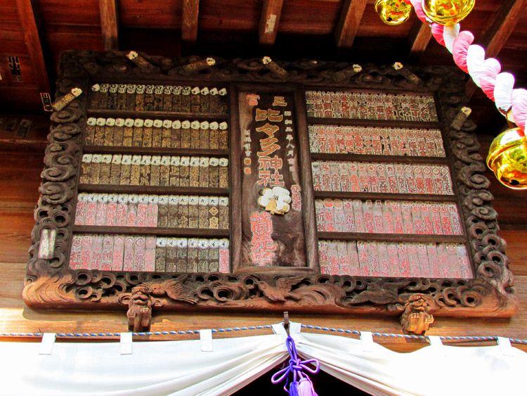 比々多神社拝殿前の額(扁額?)