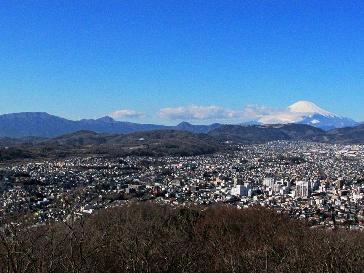 権現山展望台からの箱根連山(緩やかな明神が岳、金時山、中央の矢倉岳)と富士山